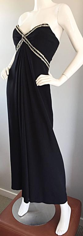 Gorgeous Vintage Bob Mackie for Amen Wardy Black Jersey Rhinestone Grecian Gown In Excellent Condition For Sale In Chicago, IL
