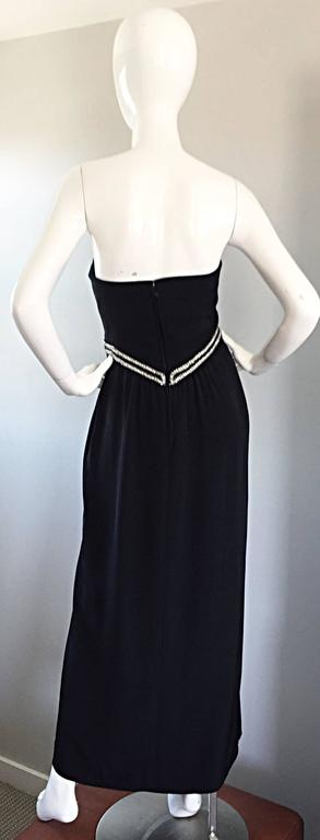 Gorgeous Vintage Bob Mackie for Amen Wardy Black Jersey Rhinestone Grecian Gown For Sale 1