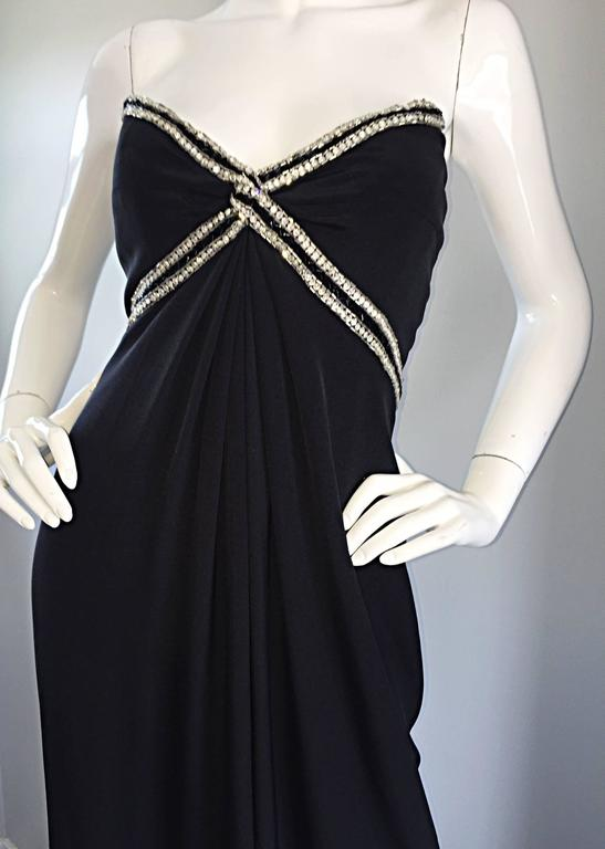 Women's Gorgeous Vintage Bob Mackie for Amen Wardy Black Jersey Rhinestone Grecian Gown For Sale