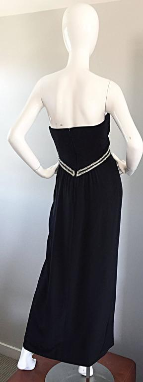 Gorgeous Vintage Bob Mackie for Amen Wardy Black Jersey Rhinestone Grecian Gown For Sale 3