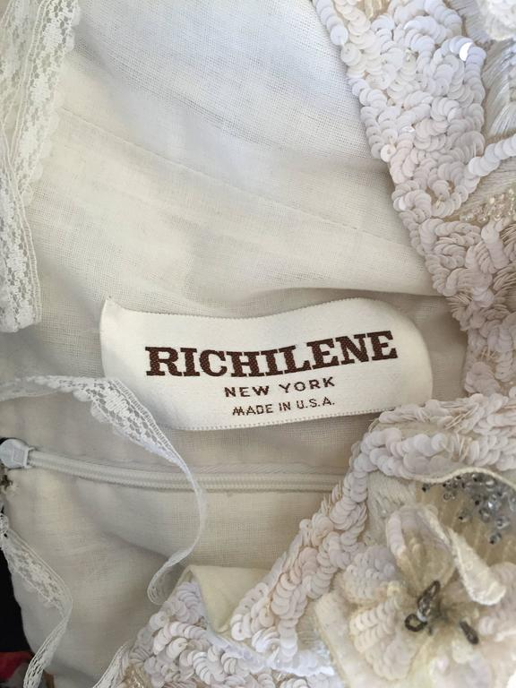 Beautiful Vintage Richilene White Silk Taffeta Sequin Beaded Evening Gown Dress For Sale 4