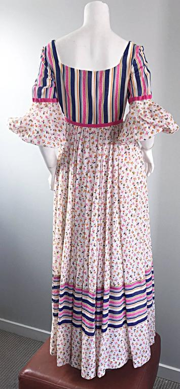 Jay Morley for Fern Violette 70s Peasant Sleeve Boho Pink Silk Cotton Maxi Dress For Sale 1