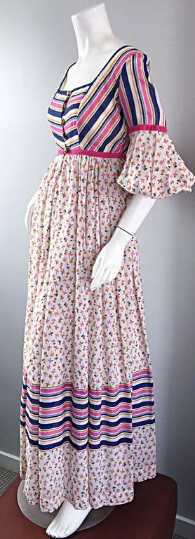 Women's Jay Morley for Fern Violette 70s Peasant Sleeve Boho Pink Silk Cotton Maxi Dress For Sale