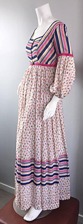 Jay Morley for Fern Violette 70s Peasant Sleeve Boho Pink Silk Cotton Maxi Dress For Sale 3