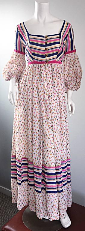 Gray Jay Morley for Fern Violette 70s Peasant Sleeve Boho Pink Silk Cotton Maxi Dress For Sale
