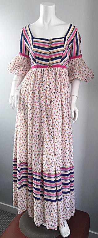 Incredible vintage 1970s JAY MORLEY for FERN VIOLETTE cotton and silk Bohemian maxi dress! Jay Morley was the top costume designer for all the major movie studios from the 1940s-1960, and started producing clothing under his own label in the late