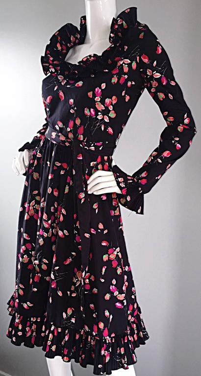 Vintage Victor Costa 1970s 70s Black Tulip Print Taffeta Belted Ruffle Dress 4