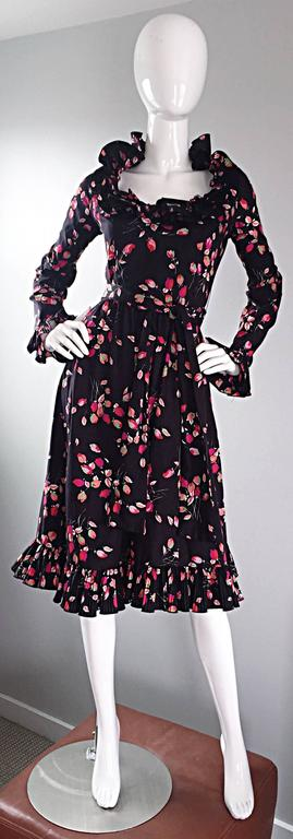 Vintage Victor Costa 1970s 70s Black Tulip Print Taffeta Belted Ruffle Dress 9