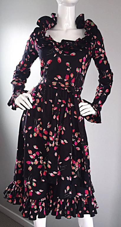 Vintage Victor Costa 1970s 70s Black Tulip Print Taffeta Belted Ruffle Dress 7