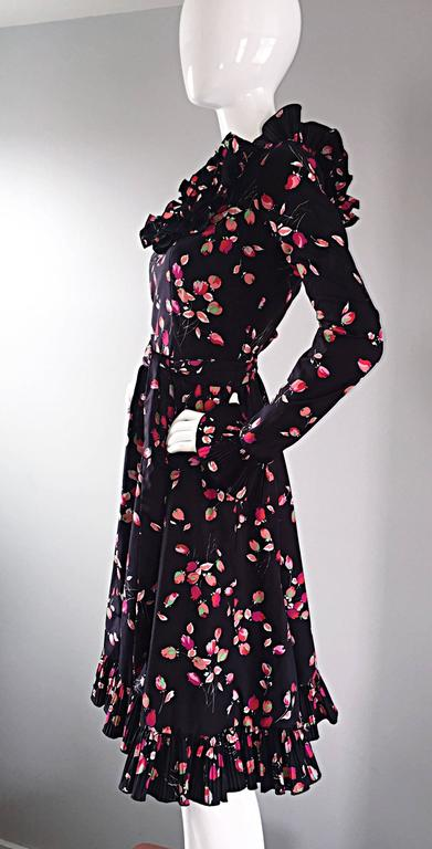 Vintage Victor Costa 1970s 70s Black Tulip Print Taffeta Belted Ruffle Dress 6