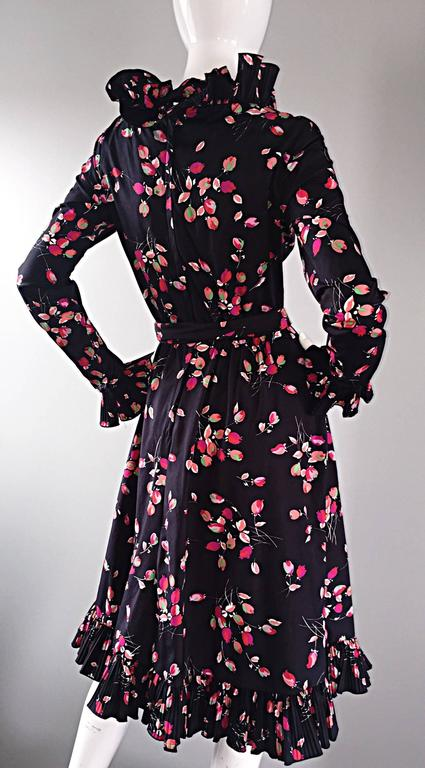Vintage Victor Costa 1970s 70s Black Tulip Print Taffeta Belted Ruffle Dress 8