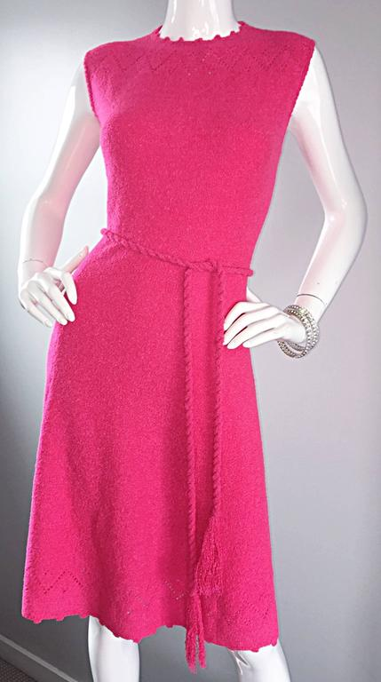 1960s St. John Hot Pink Crochet Knit A - Line 60s Vintage Dress w/ Tassel Belt For Sale 1