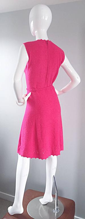 Women's 1960s St. John Hot Pink Crochet Knit A - Line 60s Vintage Dress w/ Tassel Belt For Sale