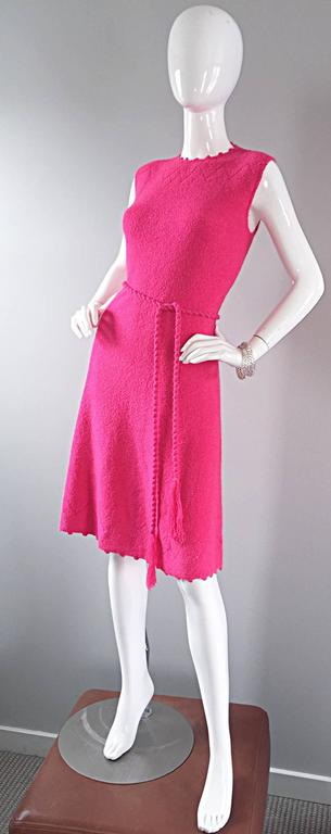 1960s St. John Hot Pink Crochet Knit A - Line 60s Vintage Dress w/ Tassel Belt For Sale 3