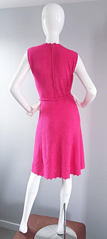 1960s St. John Hot Pink Crochet Knit A - Line 60s Vintage Dress w/ Tassel Belt For Sale 4