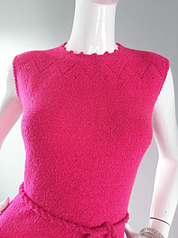 1960s St. John Hot Pink Crochet Knit A - Line 60s Vintage Dress w/ Tassel Belt In Excellent Condition For Sale In San Francisco, CA