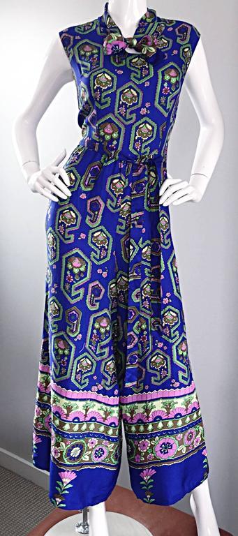 Women's Fantastic 1970s Vintage Blue Geometric Paisley Wide Leg Palazzo Pant Jumpsuit For Sale