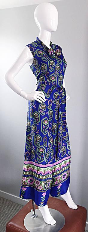 Fantastic 1970s Vintage Blue Geometric Paisley Wide Leg Palazzo Pant Jumpsuit In Excellent Condition For Sale In Chicago, IL