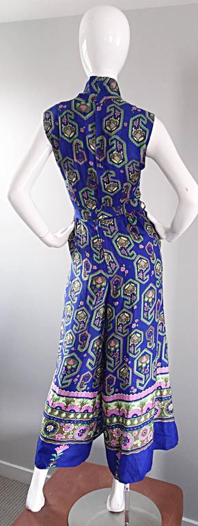 Fantastic 1970s Vintage Blue Geometric Paisley Wide Leg Palazzo Pant Jumpsuit For Sale 1