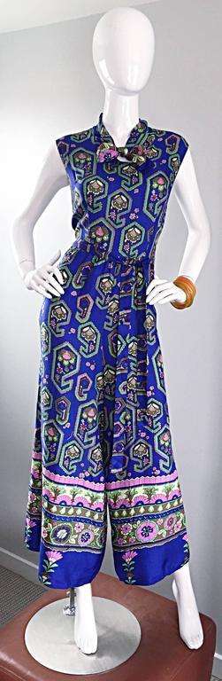 Fantastic 1970s Vintage Blue Geometric Paisley Wide Leg Palazzo Pant Jumpsuit For Sale 4