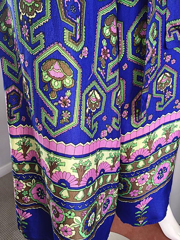 Fantastic 1970s Vintage Blue Geometric Paisley Wide Leg Palazzo Pant Jumpsuit For Sale 3