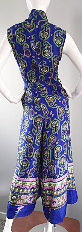 Fantastic 1970s Vintage Blue Geometric Paisley Wide Leg Palazzo Pant Jumpsuit For Sale 5