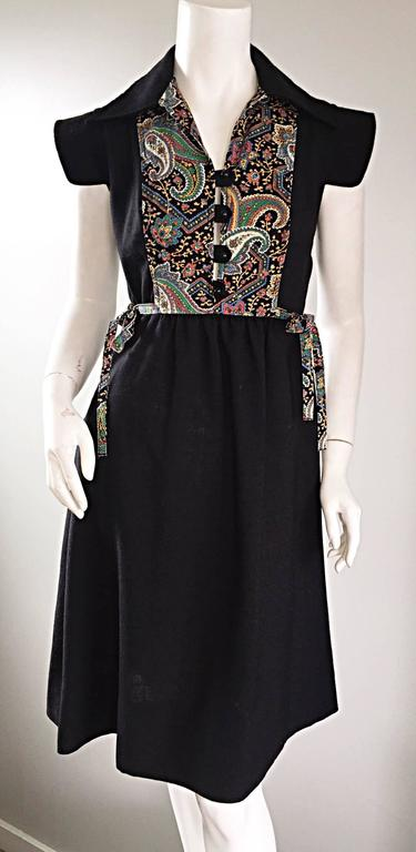 1970s Lord And Taylor Black Linen Paisley Cap Sleeve