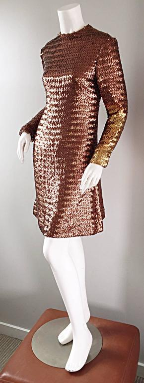 1960s Suzy Perette Bronze Ombre Fully Sequined A Line Vintage Long Sleeve Dress 4