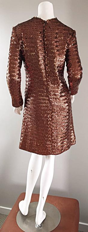 1960s Suzy Perette Bronze Ombre Fully Sequined A Line Vintage Long Sleeve Dress 5