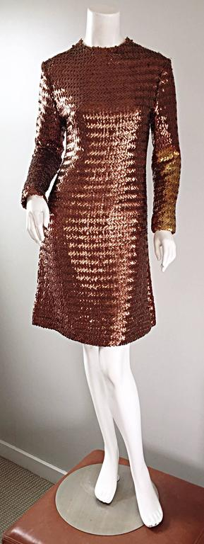 1960s Suzy Perette Bronze Ombre Fully Sequined A Line Vintage Long Sleeve Dress 2