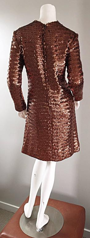 1960s Suzy Perette Bronze Ombre Fully Sequined A Line Vintage Long Sleeve Dress 8