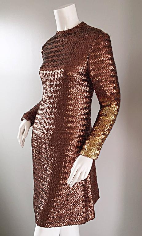 1960s Suzy Perette Bronze Ombre Fully Sequined A Line Vintage Long Sleeve Dress 9