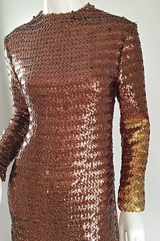 1960s Suzy Perette Bronze Ombre Fully Sequined A Line Vintage Long Sleeve Dress 6