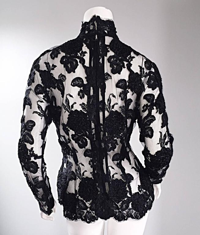 Women's Vintage Gibson Palermo Couture Custom Made Black Silk French Lace Blouse For Sale