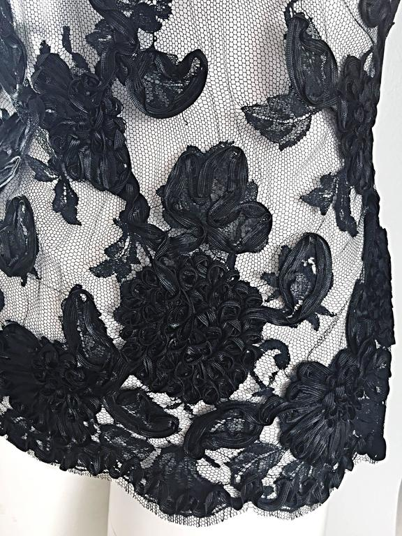 Vintage Gibson Palermo Couture Custom Made Black Silk French Lace Blouse For Sale 1