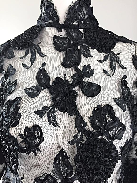 Vintage Gibson Palermo Couture Custom Made Black Silk French Lace Blouse In Excellent Condition For Sale In San Francisco, CA