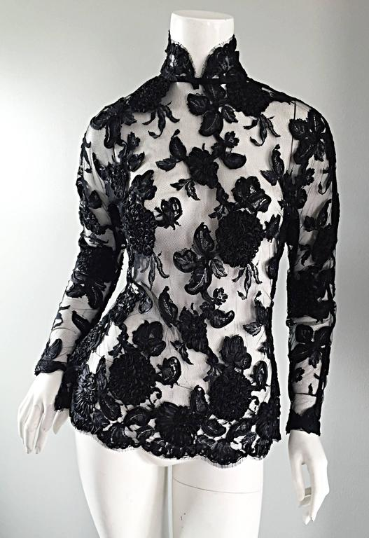 Vintage Gibson Palermo Couture Custom Made Black Silk French Lace Blouse For Sale 5