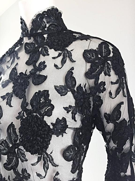 Vintage Gibson Palermo Couture Custom Made Black Silk French Lace Blouse For Sale 3