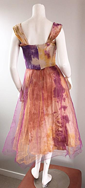 Amazing 1970s Vintage Tie Dye Bohemian Hippie Cotton 70s Dress w/ Tulle Overlay 4