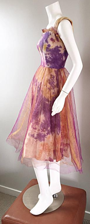 Amazing 1970s Vintage Tie Dye Bohemian Hippie Cotton 70s Dress w/ Tulle Overlay 6