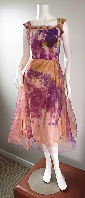 Amazing 1970s Vintage Tie Dye Bohemian Hippie Cotton 70s Dress w/ Tulle Overlay 10