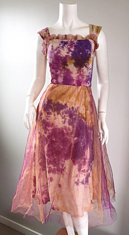Amazing 1970s Vintage Tie Dye Bohemian Hippie Cotton 70s Dress w/ Tulle Overlay For Sale 2