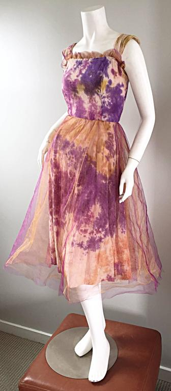 Pink Amazing 1970s Vintage Tie Dye Bohemian Hippie Cotton 70s Dress w/ Tulle Overlay For Sale