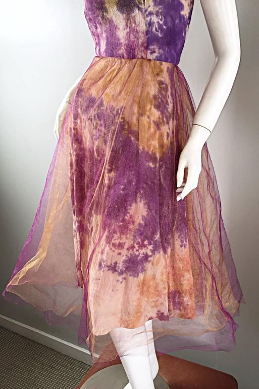 Amazing 1970s Vintage Tie Dye Bohemian Hippie Cotton 70s Dress w/ Tulle Overlay 8