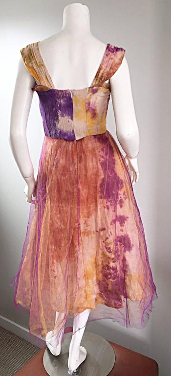 Amazing 1970s Vintage Tie Dye Bohemian Hippie Cotton 70s Dress w/ Tulle Overlay For Sale 4