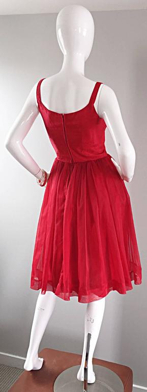 Gorgeous 1950s 50s Lipstick Red Demi Couture Silk Brocade Cocktail Dress For Sale 5