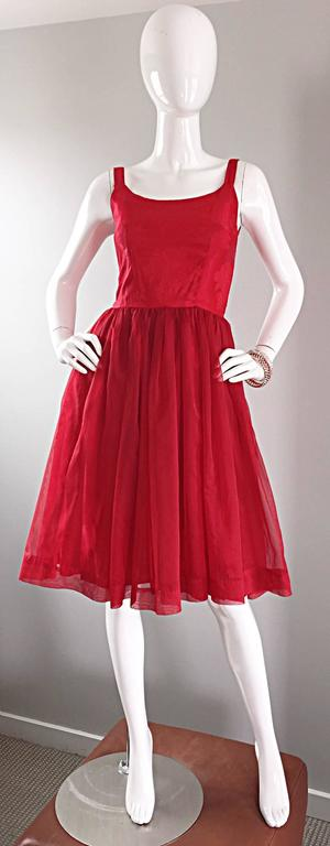 Gorgeous 1950s 50s Lipstick Red Demi Couture Silk Brocade Cocktail Dress For Sale 6