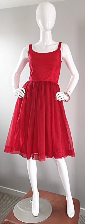 Gorgeous 1950s 50s Lipstick Red Demi Couture Silk Brocade Cocktail Dress 2