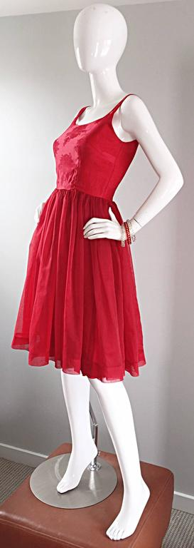 Gorgeous 1950s 50s Lipstick Red Demi Couture Silk Brocade Cocktail Dress For Sale 4