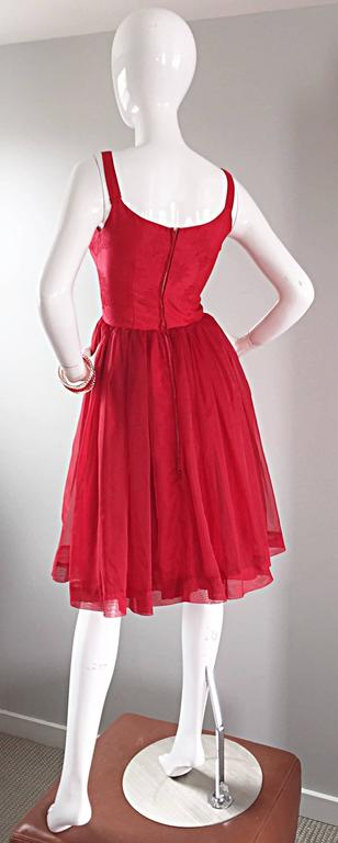 Gorgeous 1950s 50s Lipstick Red Demi Couture Silk Brocade Cocktail Dress For Sale 1